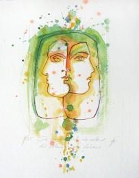 Colorierte Kaltnadelradierung: lineare Zeichnung mit zwei Frauengesichtern - aquarelliert
