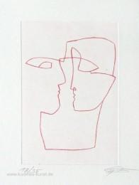 Original Kaltnadelradierung mit zwei verliebten Gesichtern, lineares Kunstbild zum Thema Liebe
