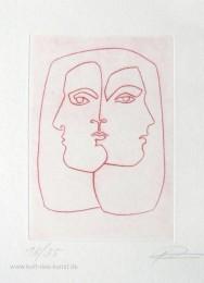Radierung bzw. Kaltnadelradierung mit zwei spiegelverkehrten Köpfen, Frauengesichter, linear, limitiert, Thema Liebe