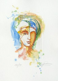 Ätzradierung - original, coloriert, Frauenkopf, Gesicht, Büste, limitierte Auflage