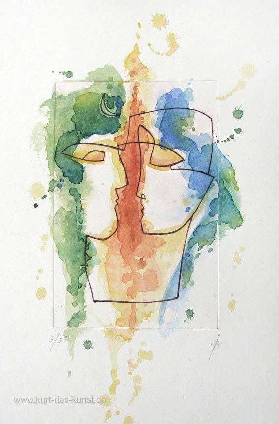 Kolorierte Original-Radierung in streng limitierter Auflage zum Thema Liebe mit zwei Köpfen, Gesicher von Mann und Frau, aquarelliert