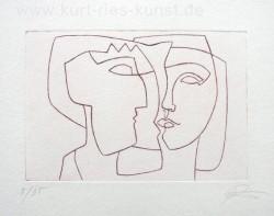 Radierung, Kaltnadelradierung zum Thema Liebe, zwei Gesichter, linear, Schweigen, Mann und Frau Köpfe, preiswert