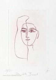Radierung, original, linear, stille Braut, von Kurt Ries, Liebe, Frauenkopf, Gesicht