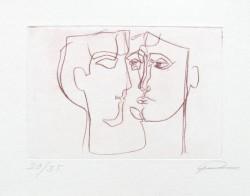 Radierung: Zwei Gesichter zum Thema Liebe, Dialog, Gespräch, Köpfe, Augen, Stummer Dialog, Mann und Frau, Kaltnadelradierung