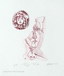 Ätzradierung auf zwei Platten - mit zwei Köpfen, Tango triste, Tränen