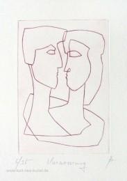 Radierung Umarmung von Mann und Frau, Geschenk zum Valentinstag, Original-Kunstbild von Kurt Ries, linear, schwarz weiß, Liebesthema