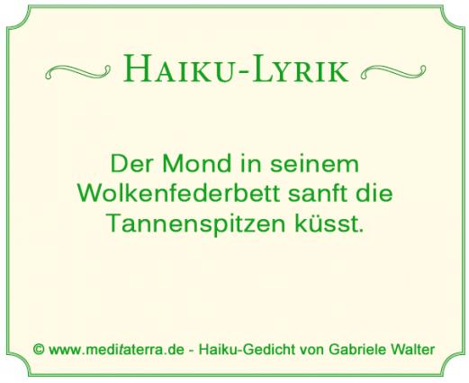 Haiku ueber Mond Tannenspitzen und kuessen