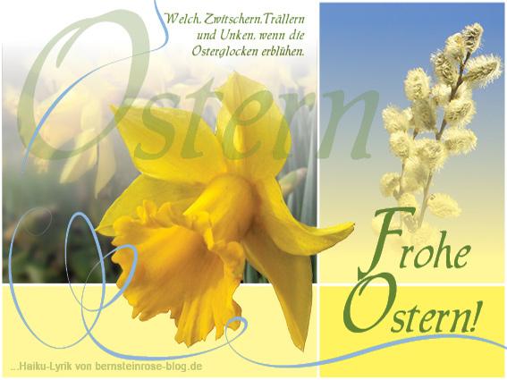 Osterglückwunsch downloaden mitgelben Osterglocken, Weidenkätzchen und Haiku-Gedicht