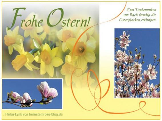 Grusskarte Frohe Ostern kostenlos mit Osterglocken und Magnolien