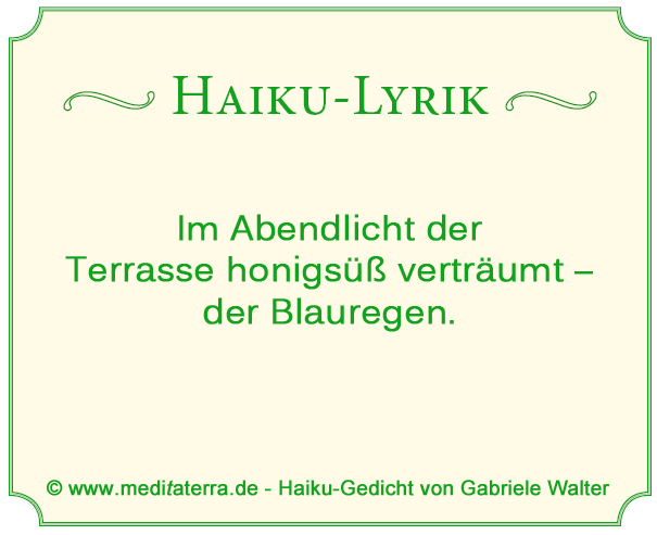 Haiku-Gedicht, Blauregen, Terrasse, Abendlicht