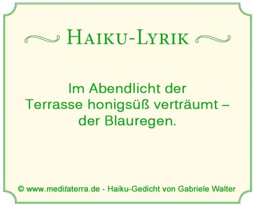 Haikugedicht ueber Blauregen und Terrasse von Gabriele Walter