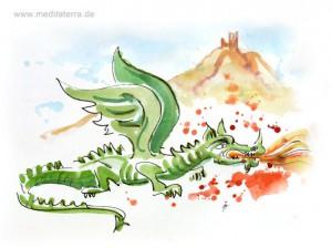 Drachenfels mit Drachen - Aquarell von Kurt Ries