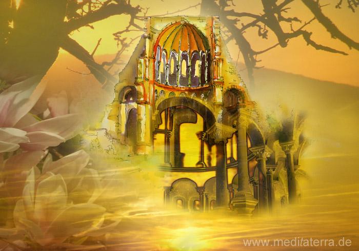 Chorruine Kloster Heisterbach im Siebengebirge - Collage aus Aquarell und Foto von Kurt Ries