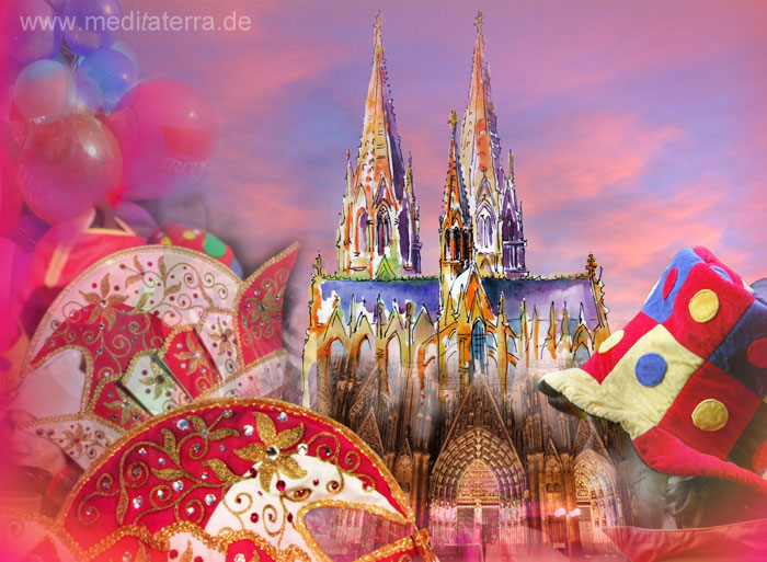 Collage Kölner Dom - Karnevall - Aquarell und Foto