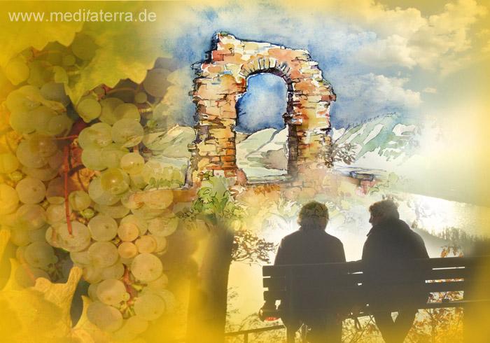 Rolandsbogen am Rhein mit Weintrauben und zwei Menschen auf einer Bank - Collage aus Aquarell und Foto