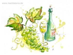 Aquarell mit Weinflasche, Weintrauben und Weinglas