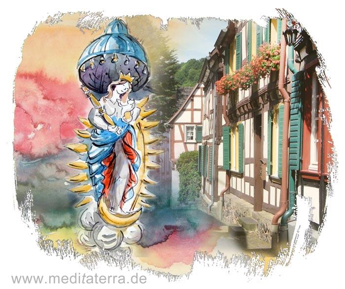 Fotocollage: Mondsichel-Maria in Unkel am Rhein