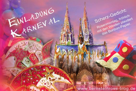 Einladung Karneval: Faschingskarte mit Scherz-Gedicht, Narrenkappen und Kölner Dom, Maskenball