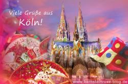 Grüße aus Köln mit Kölner Dom, Narrenkappen und Luftballons, Kölner Karneval