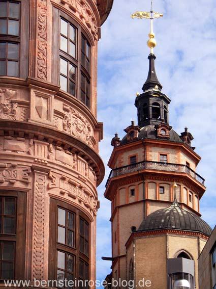Turm der Nikolaikriche und Detail des Fürstenerkers in Leipzig - Grimmaische Straße, Nikolaistraße