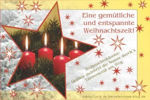 Weihnachtskarte, Adventsgruß mit vier Kerzen und Haiku-Gedicht - gemütlich und entspannte Weihnachtszeit - Relax-Glückwunsch im Bernsteinrose-Blog