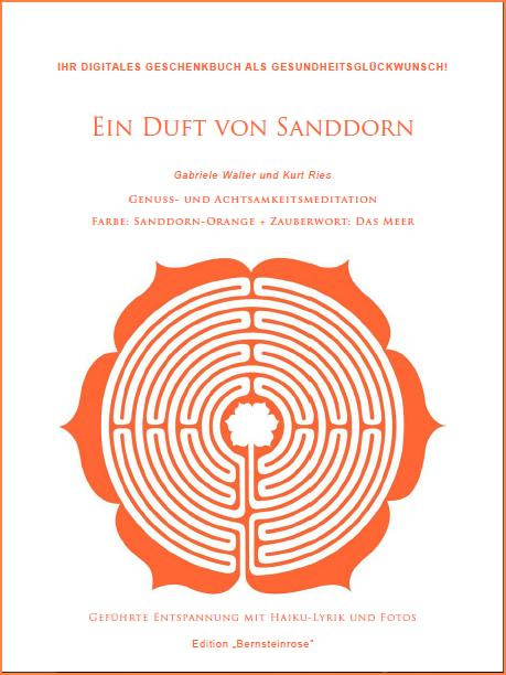 Geschenkbuch-Cover des kostenlosen E-Books mit 20 Farbfotos und 48 Haiku-Gedichten über das Meer