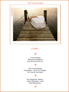 Steg am Meer mit Boot: Seite der PDF-Broschüre mit Foto, Haikus und Chakra-Singen -