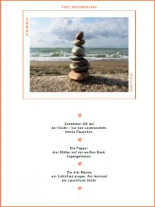 Steinturm am Meer: Seite aus dem kostenlosen Geschenkbuch zum Downloaden mit meditativem Foto vom Meer
