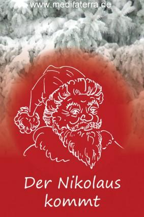 Grußkarte zum Nikolaustag mit Tannenzweigen im Schnee und Nikolausgruß - Zeichnung Nikolaus
