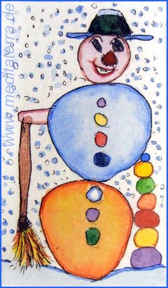 Schneemann mit Hut und Schneeflocken bunt aquarelliert von Kinderhand gezeichnet