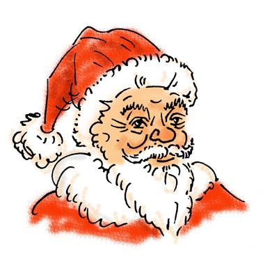 Zeichnung Weihnachtsmann in Farbe - meditaterra