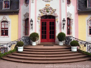 Dornburg Rokokoschloss - Eingang mit Rundtreppe
