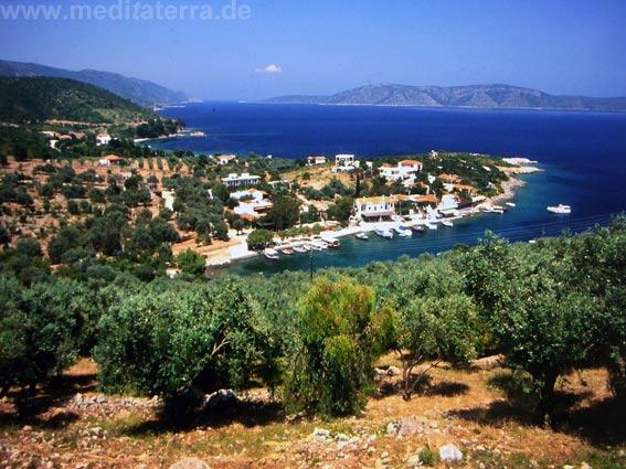 Insel Alonissos: Blick auf die Landzunge mit dem Fischerdorf Steni Vala