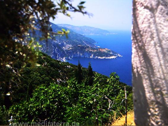 Ausblick auf die Küste der Insel Skopelos mit blauem Meer