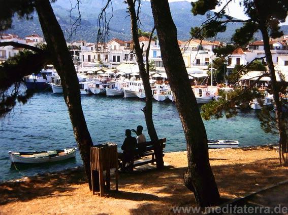 Blick von Bourtsi im Hafen von Skiathos mit Sitzbank und Bäumen