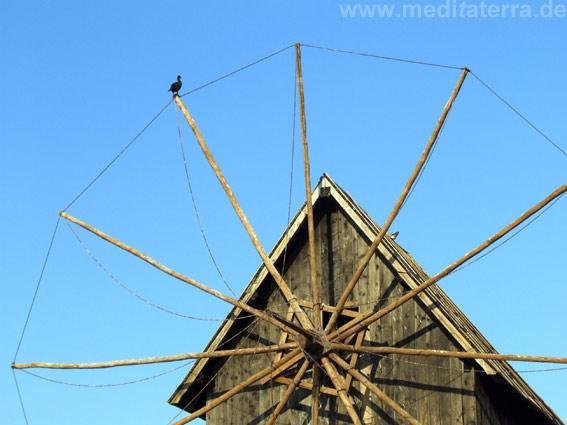 Bulgarien: Holzwindmühle auf der Halbinsel Nesserbar - mit Vogel