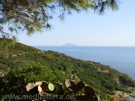 Blick von der Südküste Elbas zur Insel Monte Christo ohne Zoom