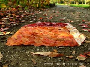 Landart Kunst aus Herbstlaub