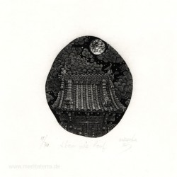 Atsushi Matsuoka, Japan, Above the Roof, Woodengraving, 7,4 x 8,6 cm