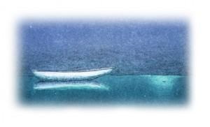 """Boot im Mondschein - Detail aus dem Bild """"Moonlight on the River"""" von dem schwedischen Künstler Bo Cronqvist"""