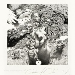 Petar Vladimirov Chinovsky, Bulgaria, Garden of Eden, Algraphy, 13 x 12,5 cm