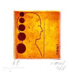 Carlos Marin 2, Colombia, Orange Variation, Etching, Two Prints, 18 x 18 cm, 2015