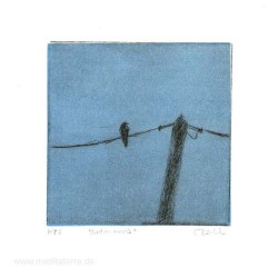 Carolyn Dodds 1, Australia, Bird on a Wire, Drypoint, 10 x 10 cm, 2015