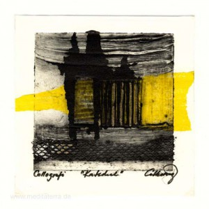 Catharina Johansson Berg 1, Sweden, Cathedral, Collography, 13 x 13 cm, 2015