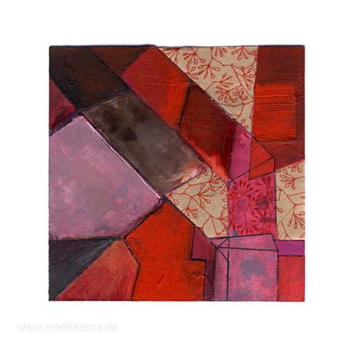 Catherine Lemaire 3, Belgium, Spring and Bricks, Mixed Media, 11 x 11 cm, 2014