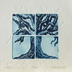 Cordula Courtiat 2, France, Bleu, Etching, 10 x 10 cm, 2015