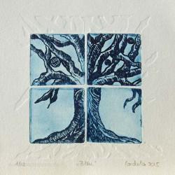 Cordula Courtiat 2, France, Bleu, Etching, 10 x 10 cm, 2015