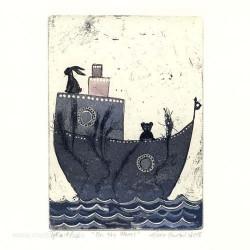 Eeva Johanna Huotari 2, Finland, On the Waves, Etching, Soft Ground, Aquatint, 9,3 x 13 cm, 2015