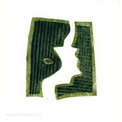 Erik Mol 2, Netherland, Two Green Shapes, Linocut, 10 x 9 cm, 2015