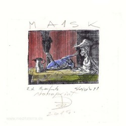 Florin Stoiciu, Romania, Mask 1, Monoprint, 6,5 x 8,5 cm, 2006